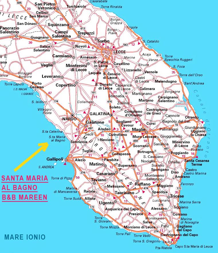 Cartina Geografica Italia Gallipoli.Santa Maria Al Bagno Mappa Stradale Lecce Santa Maria Al Bagno Nardo Cartina Turistica Mappa Geografica Paesi Lecce Salento Mappa Stradale Lecce Collegamento Santa Maria Di Leuca Cartina Otranto A Gallipoli Mappa