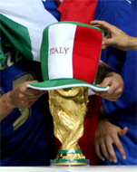 WE ARE THE FOOTBALL SOCCER CHAMPIONS... For only the second time in World Cup history, the final was settled on a penalty shootout. Fabio Grosso, the goal hero in the semifinal against Germany, scored the winning penalty for four-time champions Italy... Materazzi had been busy at both ends of the field. The Italian defender conceded a penalty and scored a goal in the first half to even the match against France at 1-1 in the World Cup final